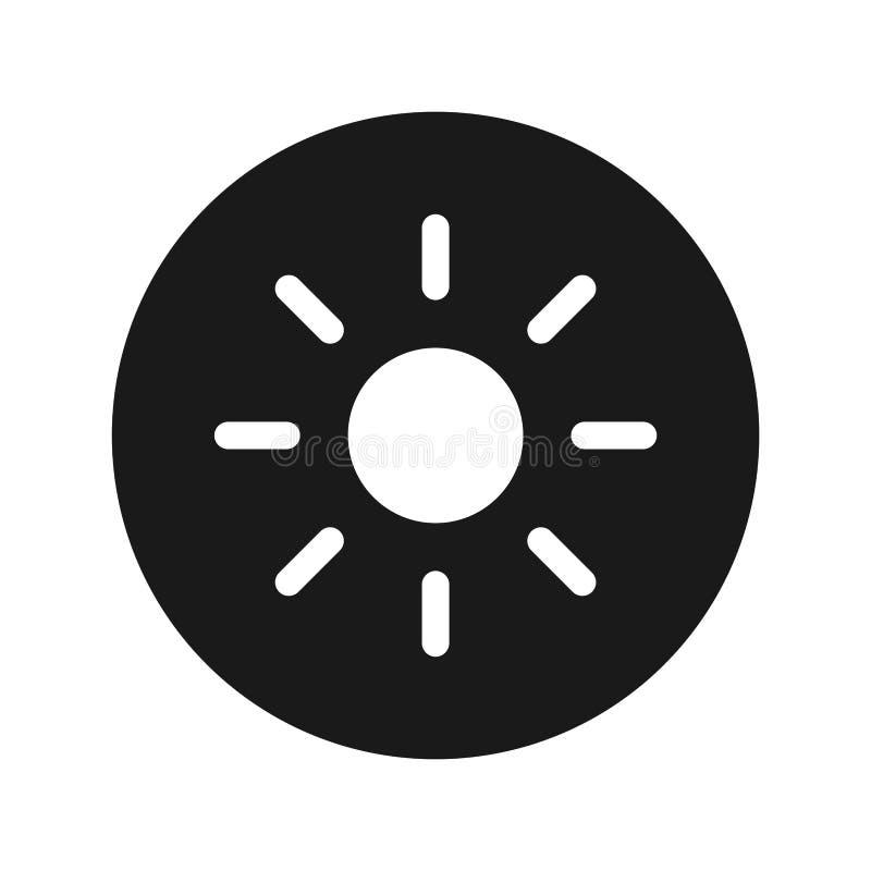 Illustration för vektor för knapp för symbol för skärmljusstyrkasol plan svart rund stock illustrationer