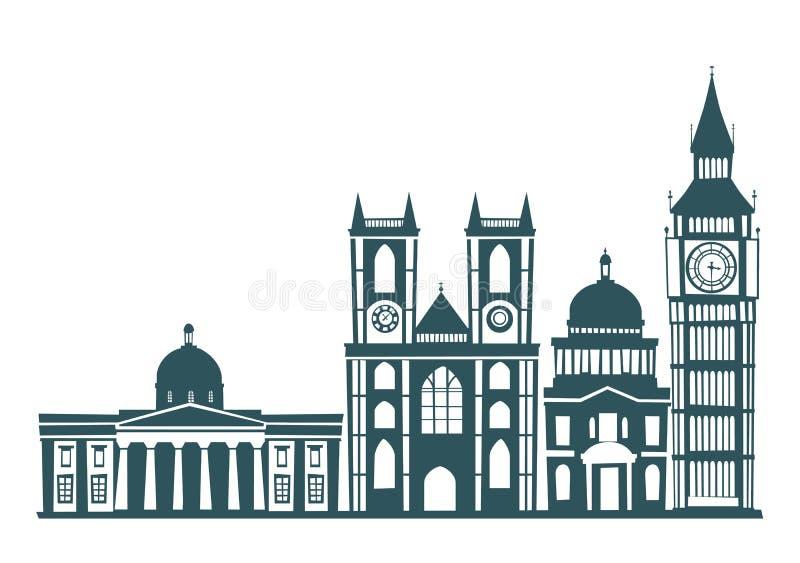 Illustration för vektor för kontur för London gatahorisont vektor illustrationer