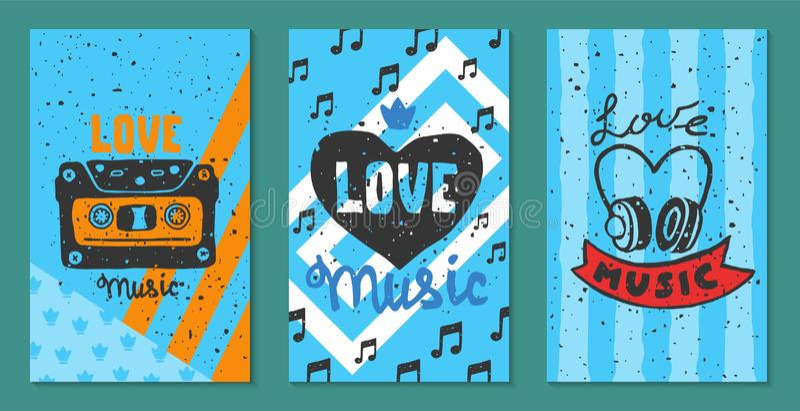 Illustration för vektor för kort för förälskelsemusikfestival Låt din hjärta sjunga Musik att göra allt bättre Elektriska gitarre stock illustrationer