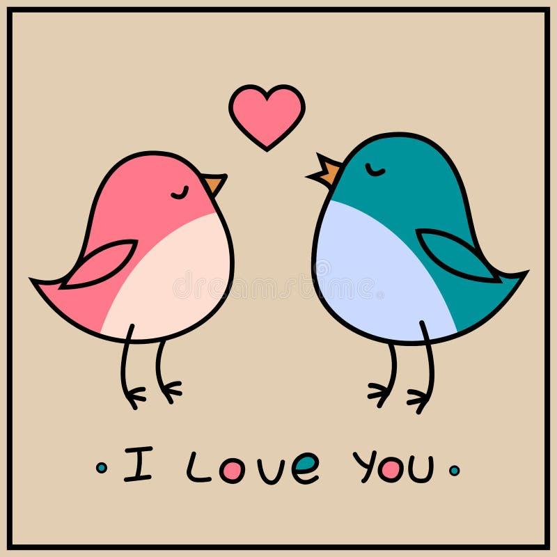 Illustration för vektor för kort för hälsning för dag för förälskelsefågelvalentin stock illustrationer