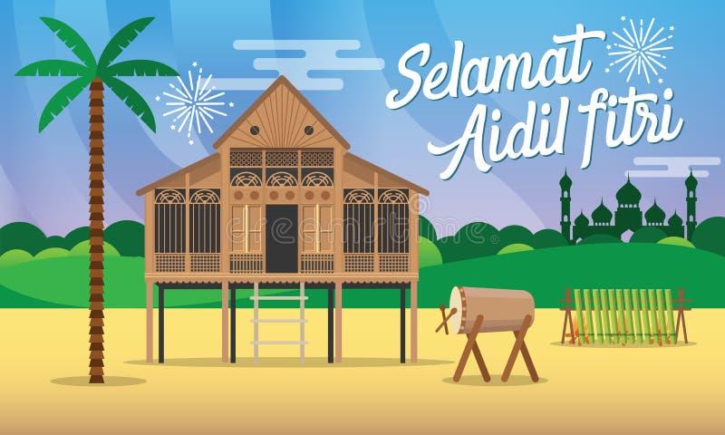 Illustration för vektor för kort för hälsning för fitri för aidil för Selamat hariraya med det traditionella malaybyhuset/Kampung stock illustrationer