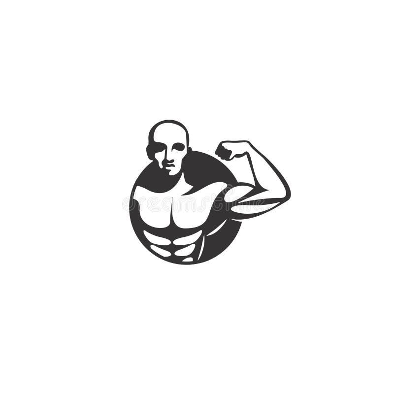 Illustration för vektor för kroppbyggnadslogo royaltyfri illustrationer