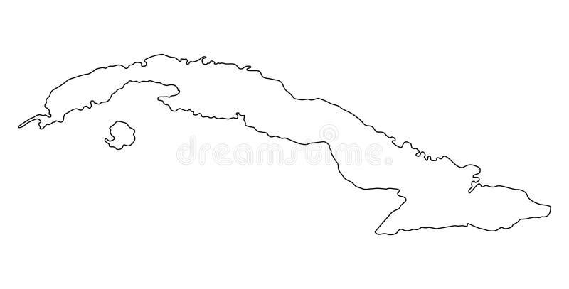Illustration för vektor för Kubaöversiktsöversikt vektor illustrationer