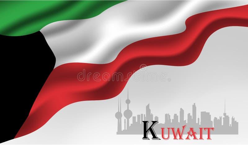 Illustration för vektor Kuwait för nationell dag stock illustrationer