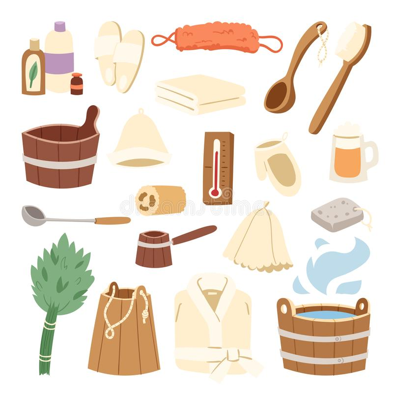 Illustration för vektor för kvast och för hink för badrum för begrepp för sjukvård för ånga för brunnsort för varmvatten för badh vektor illustrationer
