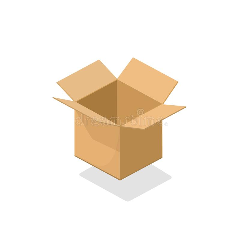 Illustration för vektor för lådaask öppen tom, isometrisk packejordlott för papp som 3d isoleras på vit bakgrundsclipart stock illustrationer