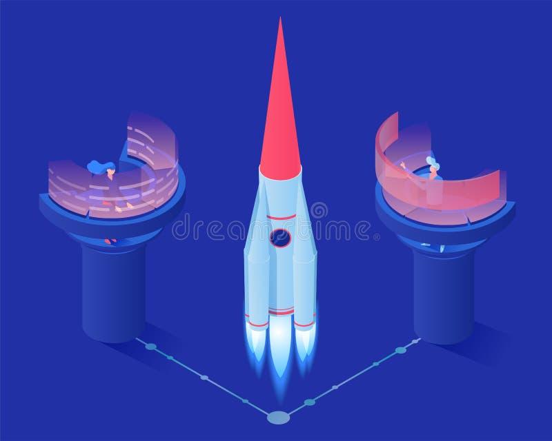 Illustration för vektor för lansering för utrymmeraket isometrisk Rymdstationarbetare, liftoff för anslutning för teknikerövervak stock illustrationer