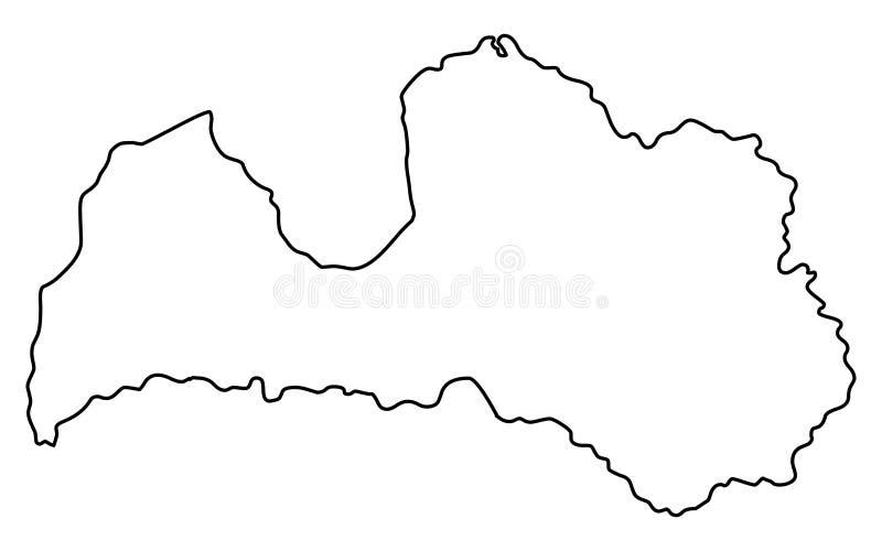 Illustration för vektor för Lettland översiktsöversikt vektor illustrationer