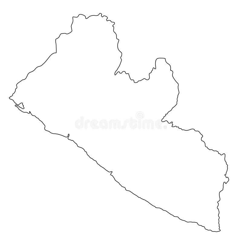 Illustration för vektor för Liberia översiktsöversikt royaltyfri illustrationer
