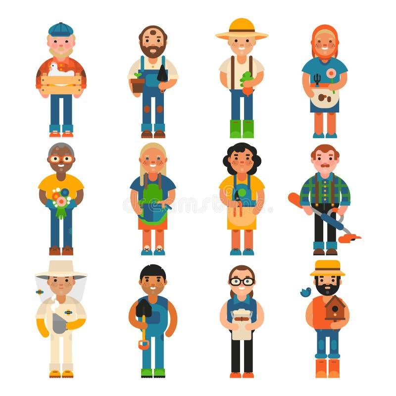 Illustration för vektor för liv för lantbruk för yrke för person för tecken för bondearbetarfolk åkerbruk vektor illustrationer