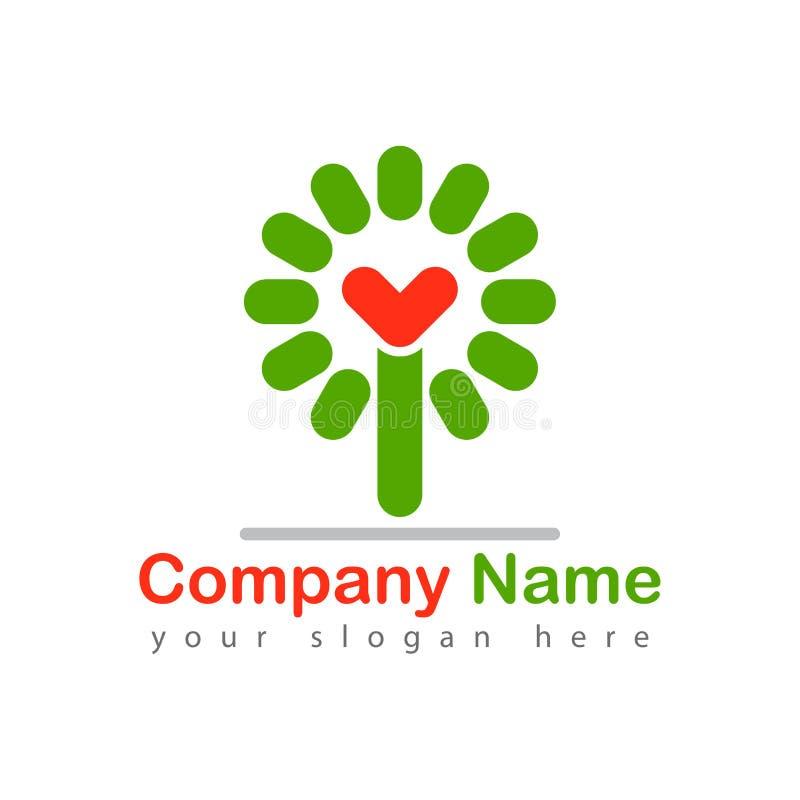 Illustration för vektor för logotyp för förälskelseträd stock illustrationer
