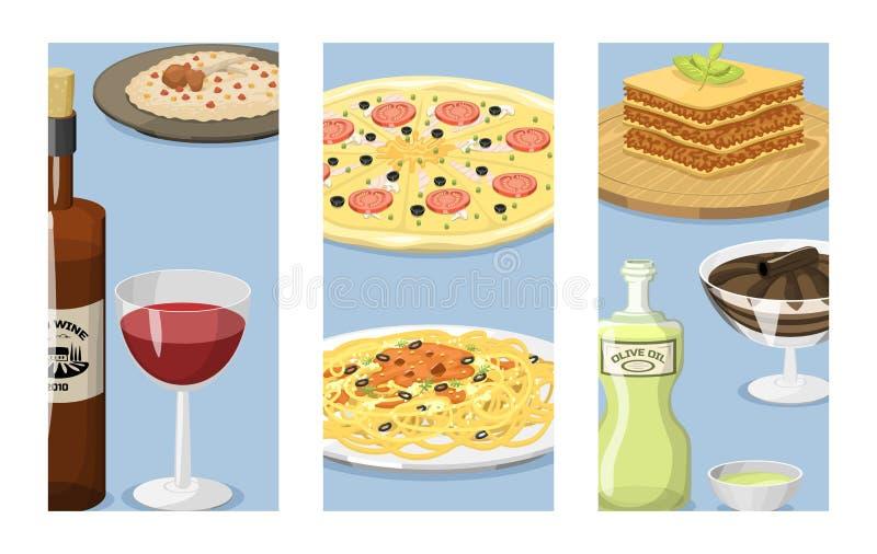 Illustration för vektor för lunch för läcker hemlagad matlagning för kokkonst för kort för tecknad filmItalien mat ny traditionel stock illustrationer
