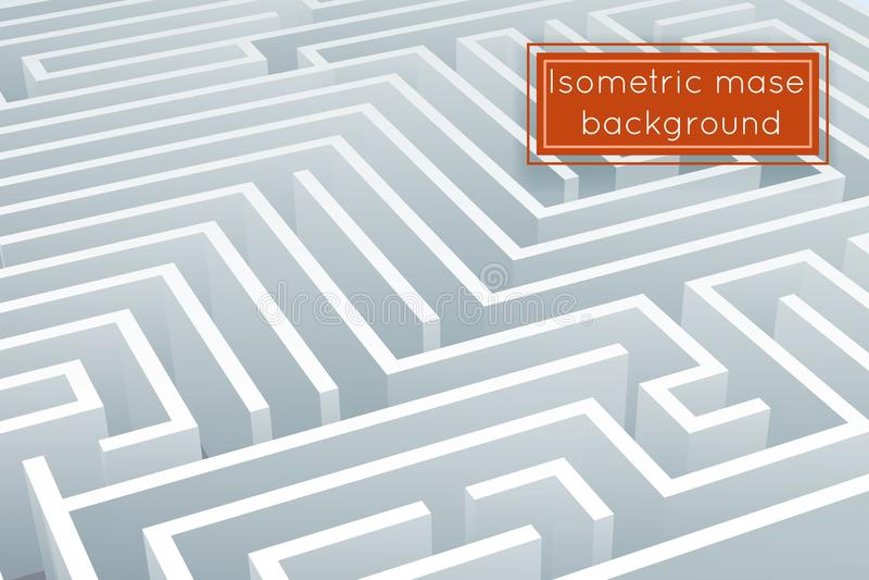 Illustration för vektor för mall för design för bakgrund 3d för labyrintförvecklinglabyrint isometrisk stock illustrationer