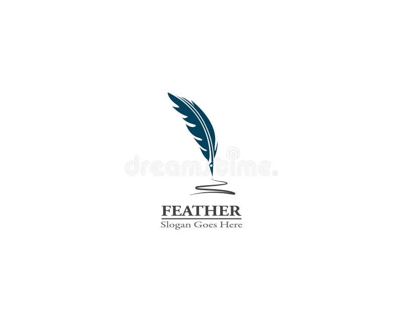 Illustration för vektor för mall för fjäderpennlogo stock illustrationer