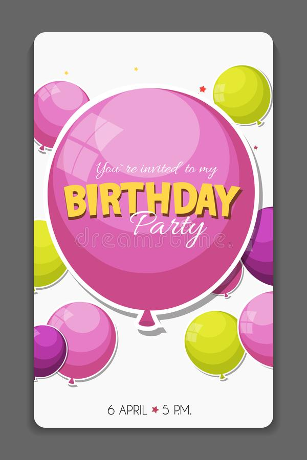 Illustration för vektor för mall för kort för inbjudan för födelsedagparti royaltyfri illustrationer