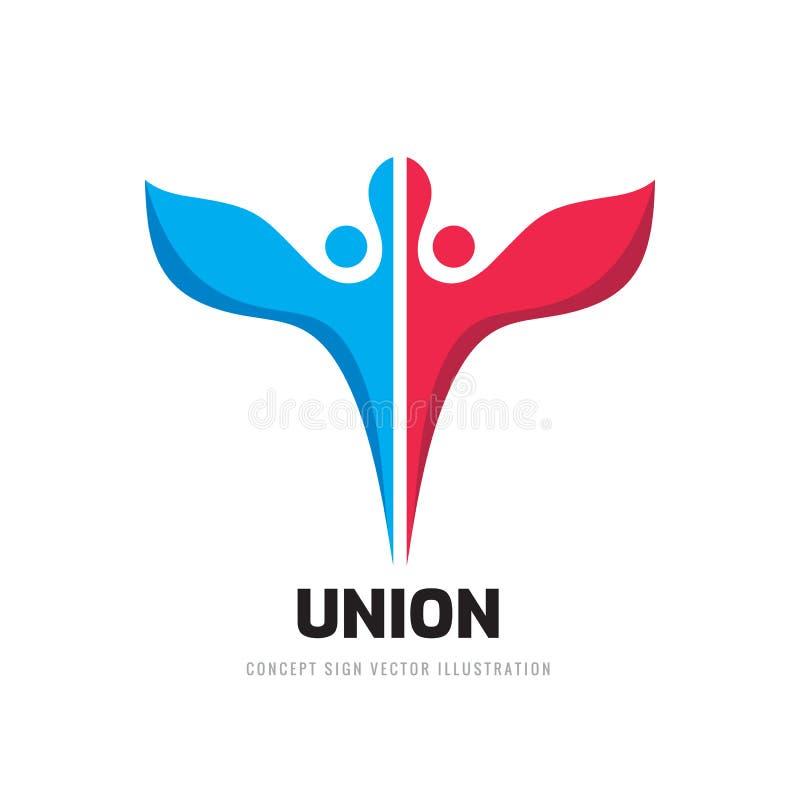 Illustration för vektor för mall för logo för unionbegreppsaffär Idérikt tecken för kamratskap Ängel två med vingsymbolen planl?g vektor illustrationer