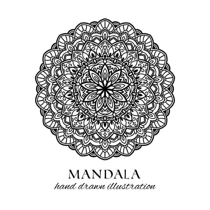 Illustration för vektor för Mandalablomma hand dragen för att färga stock illustrationer