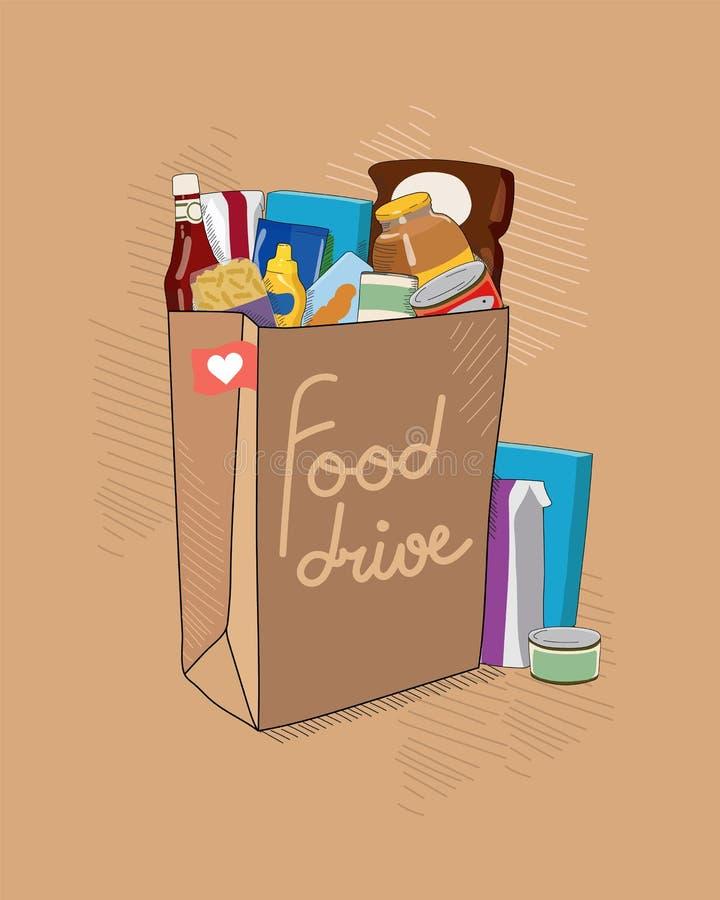 Illustration för vektor för matdrevvälgörenhet med den bruna pappers- påsen med tittle och packar för non förgänglig mat Hjälp fö vektor illustrationer