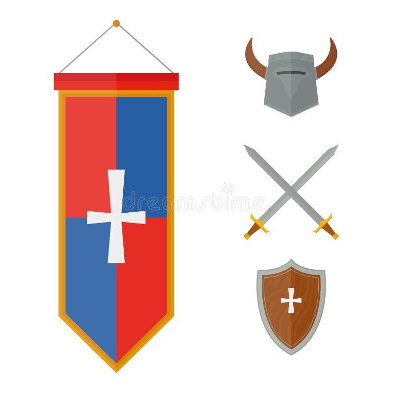Illustration för vektor för medeltida för vapen för riddaresymboler heraldiskt för ridderskap för beståndsdelar medeltida kugghju royaltyfri illustrationer