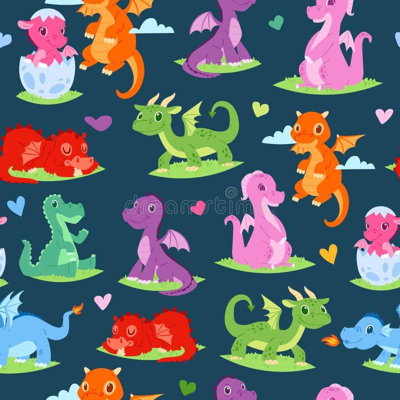 Illustration för vektor för modell för drakebarn sömlös Roliga drakar f?r tecknad film med vingar Felika dinosaurier som sitter p stock illustrationer