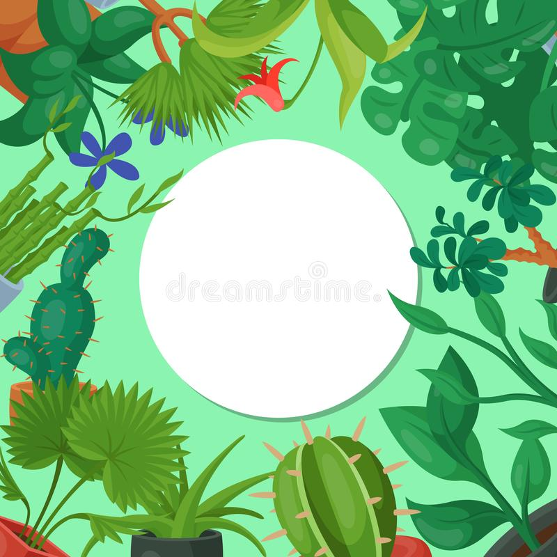 Illustration för vektor för modell för runda för floriculture för husblommor inomhus Arbeta i trädgården för naturhemgarnering In royaltyfri illustrationer