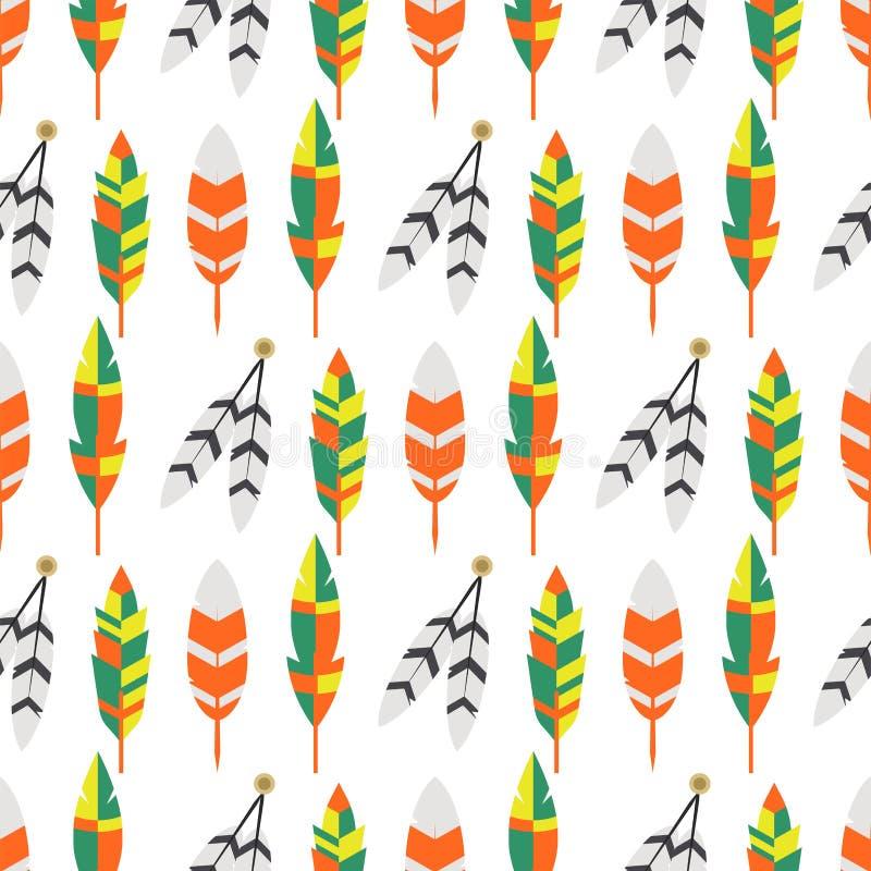 Illustration för vektor för modell för stam- plan fjäderfågeltappning färgrik etnisk sömlös royaltyfri illustrationer