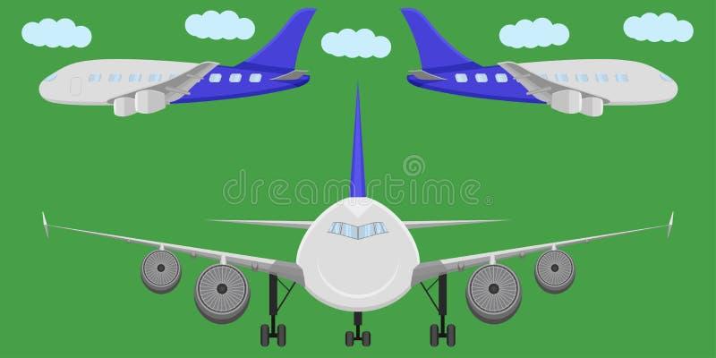 Illustration för vektor för moln för flyg för främre sikt för sida för stråle för vinge för flyg för fluga för flygplantransporth stock illustrationer