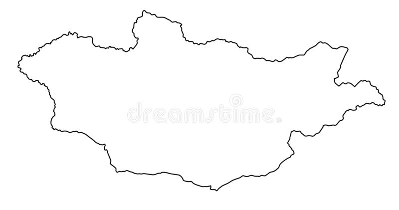 Illustration för vektor för Mongoliet översiktsöversikt stock illustrationer