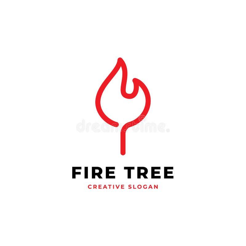 Illustration för vektor för monoline för design för logo för brandblad enkel vektor illustrationer
