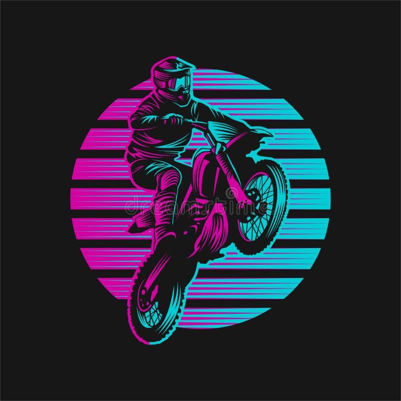 Illustration för vektor för motocrosssolnedgång Retro royaltyfri illustrationer