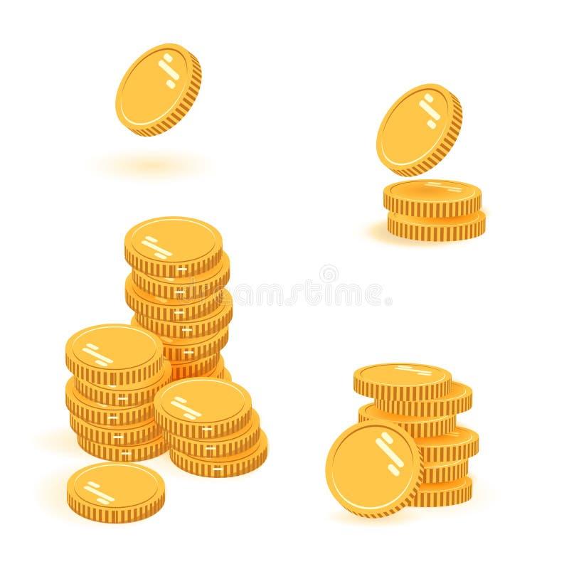 Illustration för vektor för myntbuntuppsättning, hög för symbolslägenhetfinans, dollarmynthög Guld- pengaranseende på staplad gul stock illustrationer