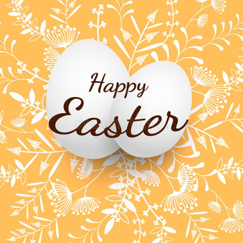 Illustration för vektor för påskägg grupp av ägg med den blom- modellen på orange bakgrund stock illustrationer