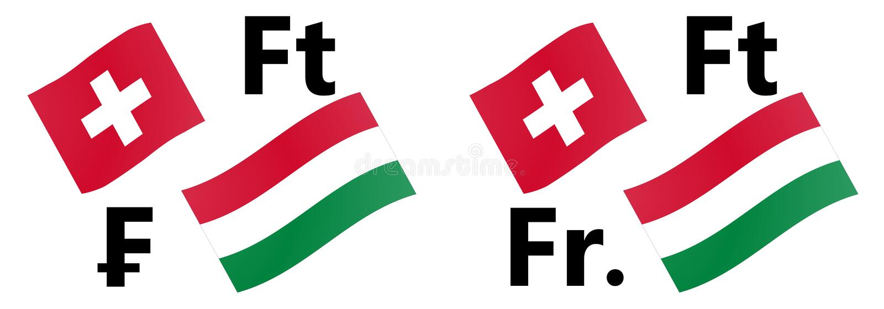 Illustration för vektor för par för CHFHUF-forexvaluta Schweiz och Ungernflagga, med franc- och Forintsymbol stock illustrationer