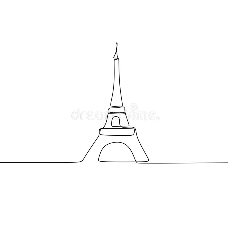 Illustration för vektor för Paris Eiffeltornsymbol med den fortlöpande linjen teckningsminimalismstil vektor illustrationer