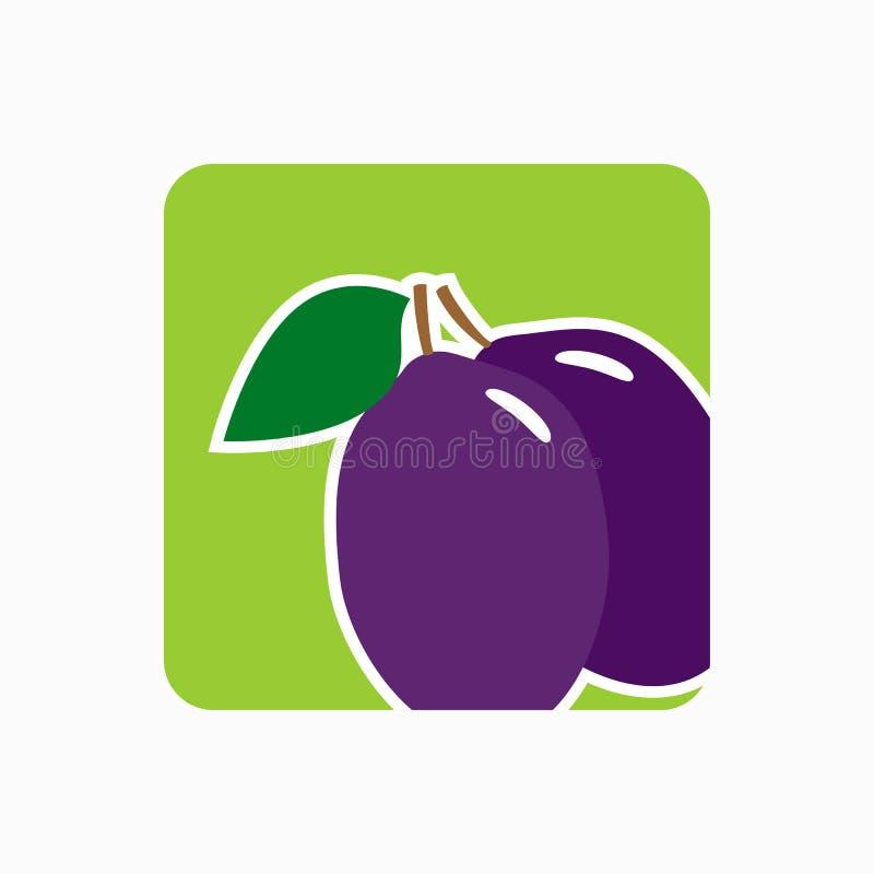 Illustration för vektor för plommonsymbol enkel plan Nytt plommontecken vektor illustrationer