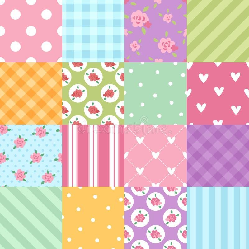 Illustration för vektor för sömlös för kläder för patchworktextiltextur för modell för bakgrund för tegelplatta dekorativ design  vektor illustrationer