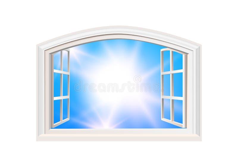 Illustration för vektor för sikt för ljus för sol för blå himmel för öppet fönster realistisk Isolerat vitdubblettsidohängt fönst stock illustrationer