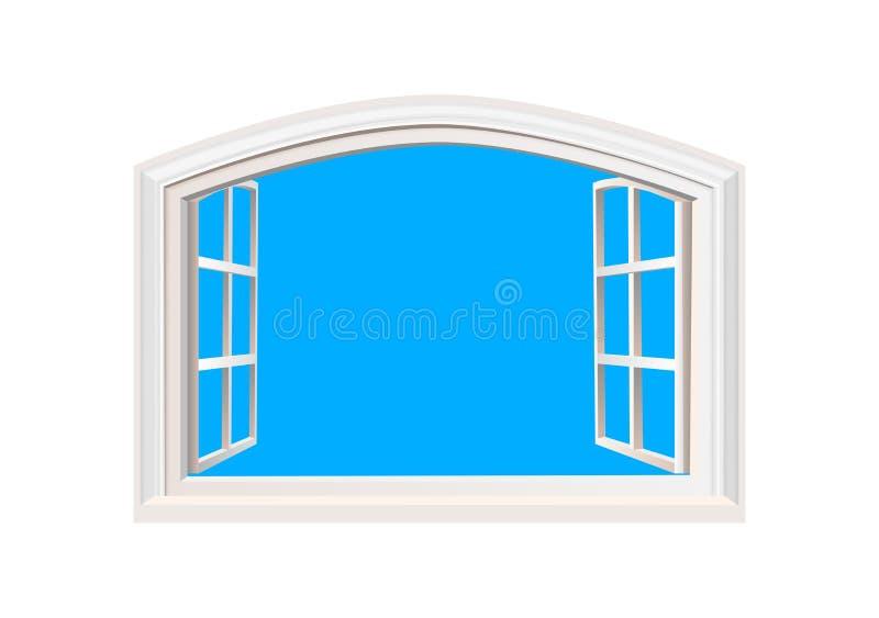 Illustration för vektor för sikt för ljus för sol för blå himmel för öppet fönster realistisk Isolerat vitdubblettsidohängt fönst royaltyfri illustrationer