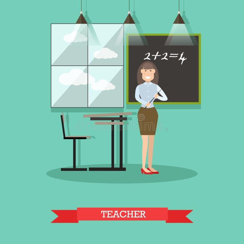 Illustration för vektor för skolalärare i plan stil vektor illustrationer