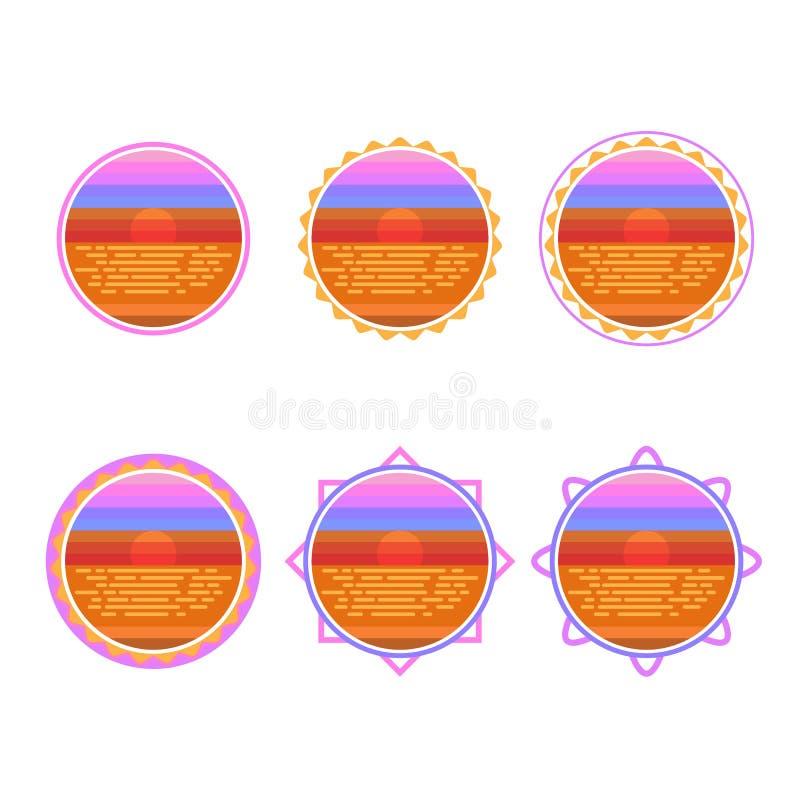 Illustration för vektor för soluppgångcirkelemblem vektor illustrationer
