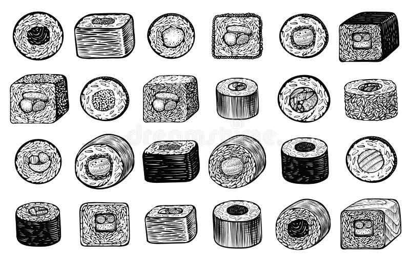 Illustration för vektor för sushimakirullar dragen hand, olik vinkel av sikten Japansk mat vektor illustrationer