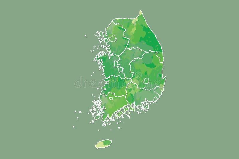 Illustration för vektor för Sydkorea vattenfärgöversikt av grön färg med gränslinjer av olika landskap på mörk bakgrund royaltyfri illustrationer