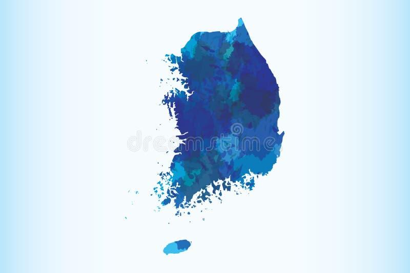 Illustration för vektor för Sydkorea vattenfärgöversikt av mörkt - blå färg på ljus bakgrund genom att använda målarfärgborsten i vektor illustrationer