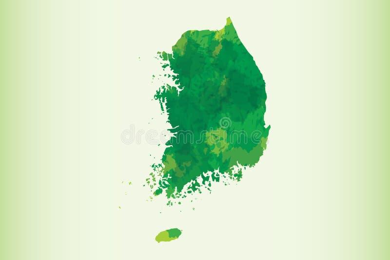 Illustration för vektor för Sydkorea vattenfärgöversikt av mörkt - grön färg på ljus bakgrund genom att använda målarfärgborsten  vektor illustrationer