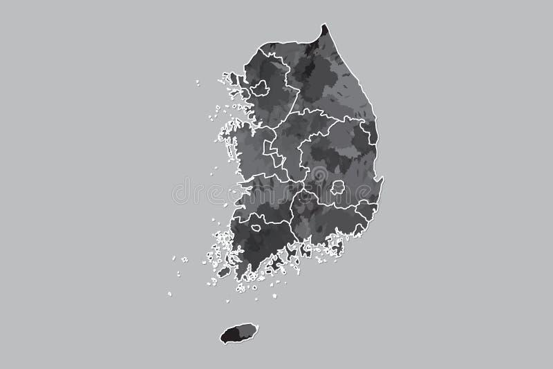 Illustration för vektor för Sydkorea vattenfärgöversikt av svart färg med gränslinjer av olika landskap på ljus bakgrund vektor illustrationer