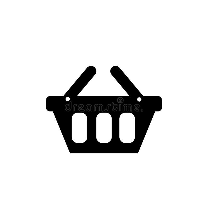 Illustration för vektor för symbol för shoppingkorg Korgsymbolsvektor stock illustrationer