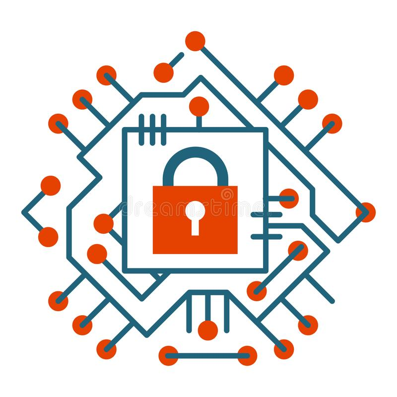 Illustration för vektor för symbol för skydd för cyber för internet för rengöringsduksäkerhetsteknologi digital stock illustrationer