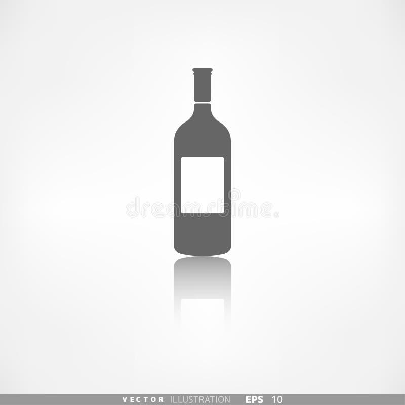 Illustration för vektor för symbol för vinflaska stock illustrationer