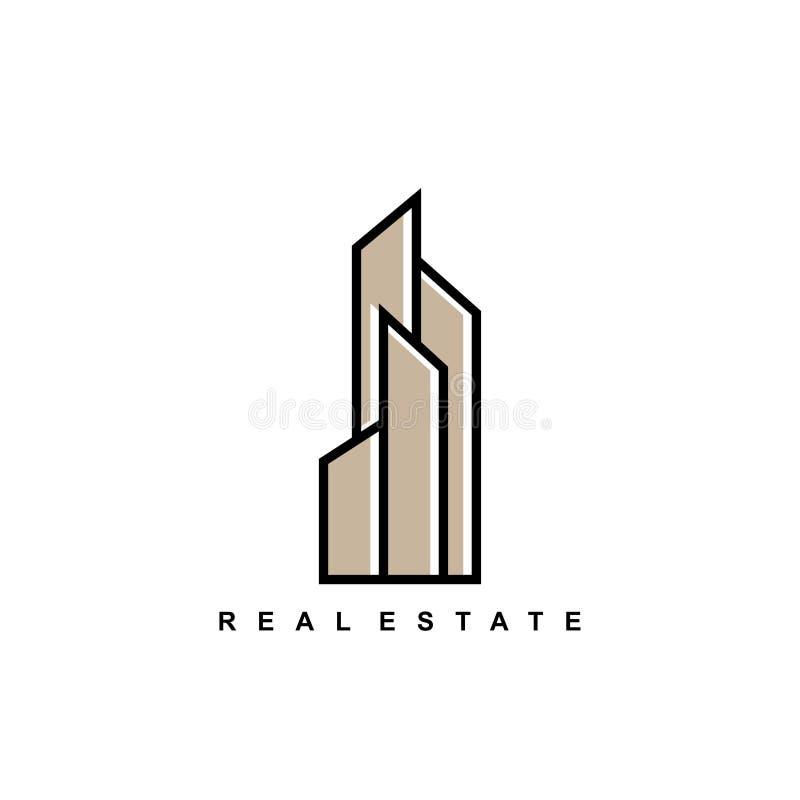 Illustration för vektor för symboler för hotell för byggnad för design för mall för fastighetlogosymbol minimalist vektor illustrationer