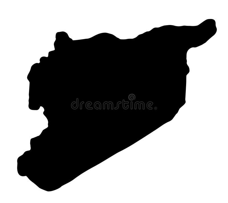 Illustration för vektor för Syrien översiktskontur stock illustrationer
